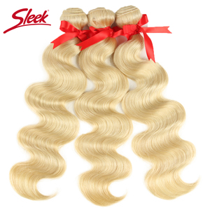 Image 5 - Sleek Mink Brazilian Body Wave Hair Blonde 613 Color Hair Weave 10 To 26 Inches Bundles Remy Hair Extension Free Shipping