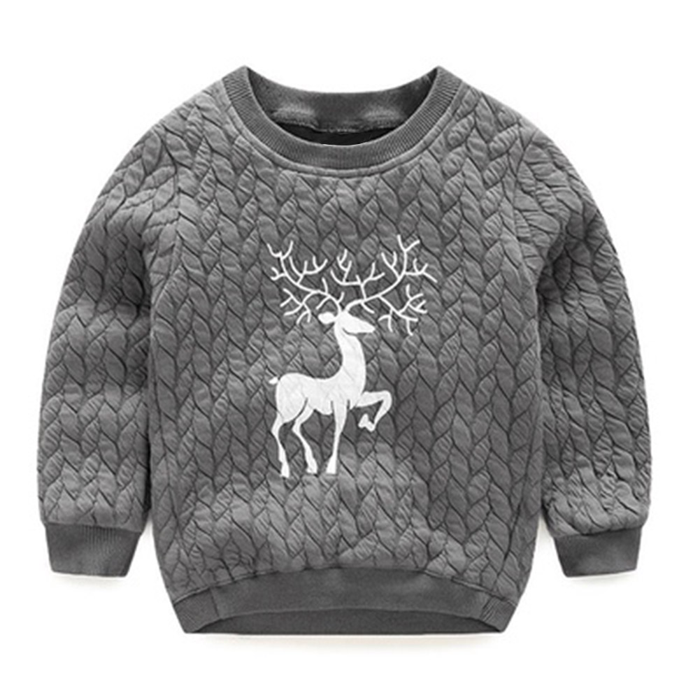 Christmas Deer Boys Sweatshirts Autumn and Winter Boys T-shirts Casual Baby Clothes Warm Kids Pullovers Tops Childrens Clothing