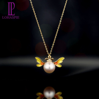 LP Pearl Jewelry Solid 18k Yellow Gold 8mm Natural Freshwater Pearl & Diamond Yellow Angel Wing Pendant For Women's Gift
