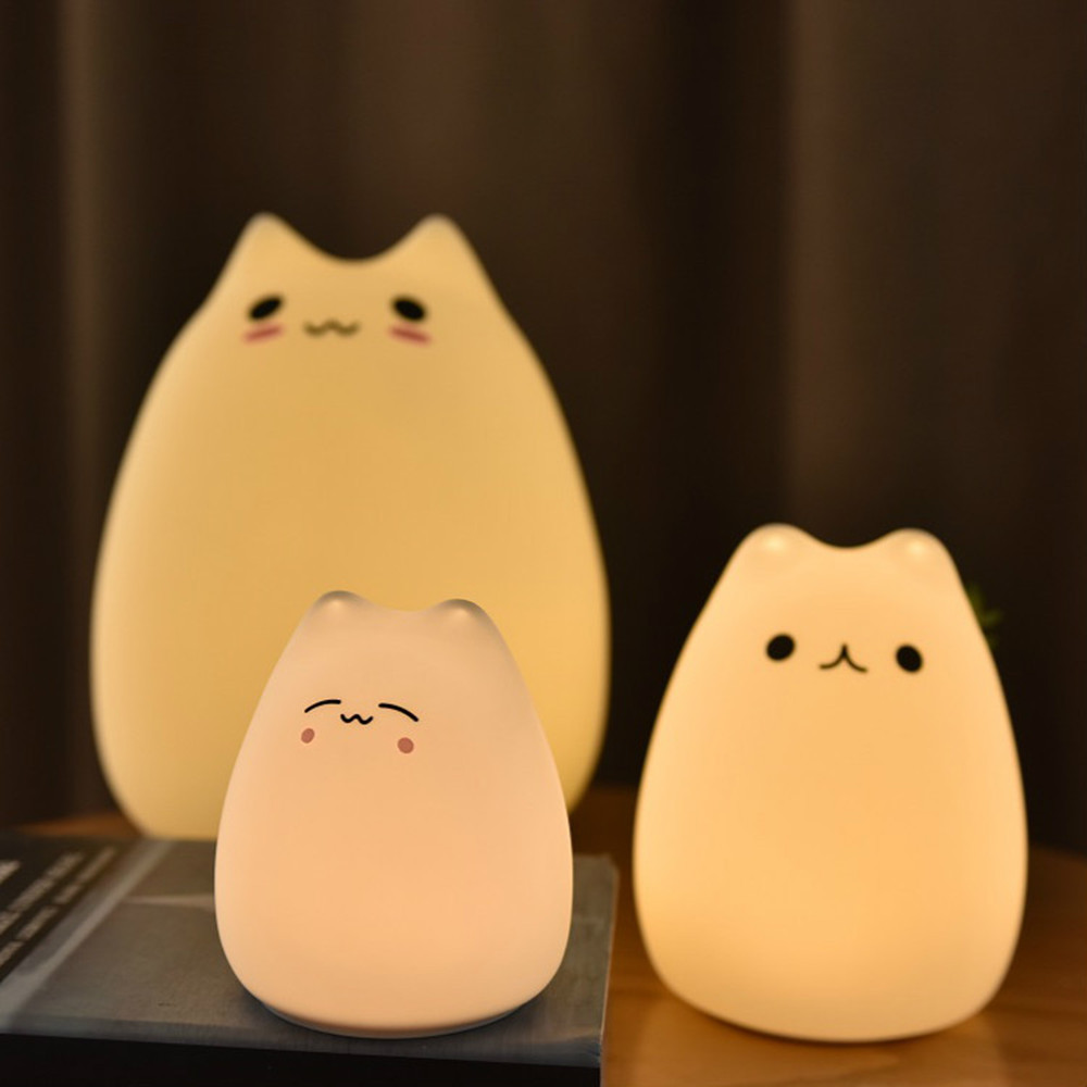 Cute Animal Little Cat Touch Sensor Control LED Night Lights 3AAA Batteries Soft Silicone LED Lamp Lantern Gift Decorative Lamp