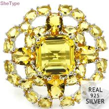 9.0# SheType 7.8g Big Top Golden Citrine Ladies Wedding 925 Solid Sterling Silver Ring 30x30mm