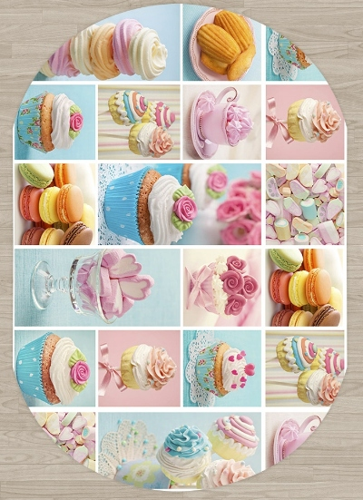 Else Cup Cakes Sweet Candy Pink Blue Brown Kitchen 3d Print Non Slip Microfiber Living Room Modern Oval Washable Area Rug Carpet