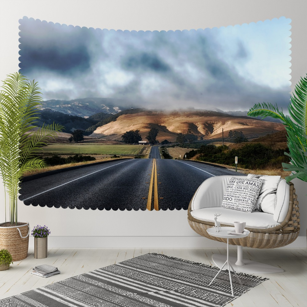 Else Blue Sky Clouds Highway Road Mountain Nature 3D  Print Decorative Hippi Bohemian Wall Hanging Landscape Tapestry Wall Art