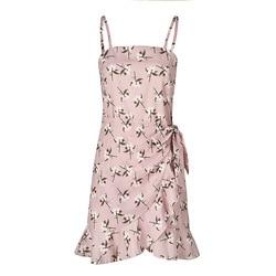 Fashion Summer Women Chiffon Dress Casual Print Sexy Strapless Sleeveless Spaghetti Strap Ruffles Female Beach Short Dress 2XL 6