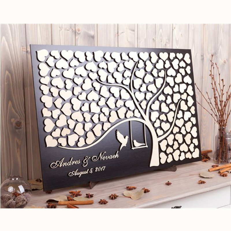 Personalized Wooden 3D Wedding Guest Book Alternatives,Love Birds Rustic Sign In Custom Tree Of Hearts Wedding Guestbook Gift