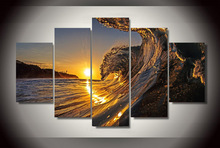 Artwork Canvas Modular Picture Living Room Wall Art Home Decorative HD Printed 5 Pieces The Wave In Sunset Beach Painting