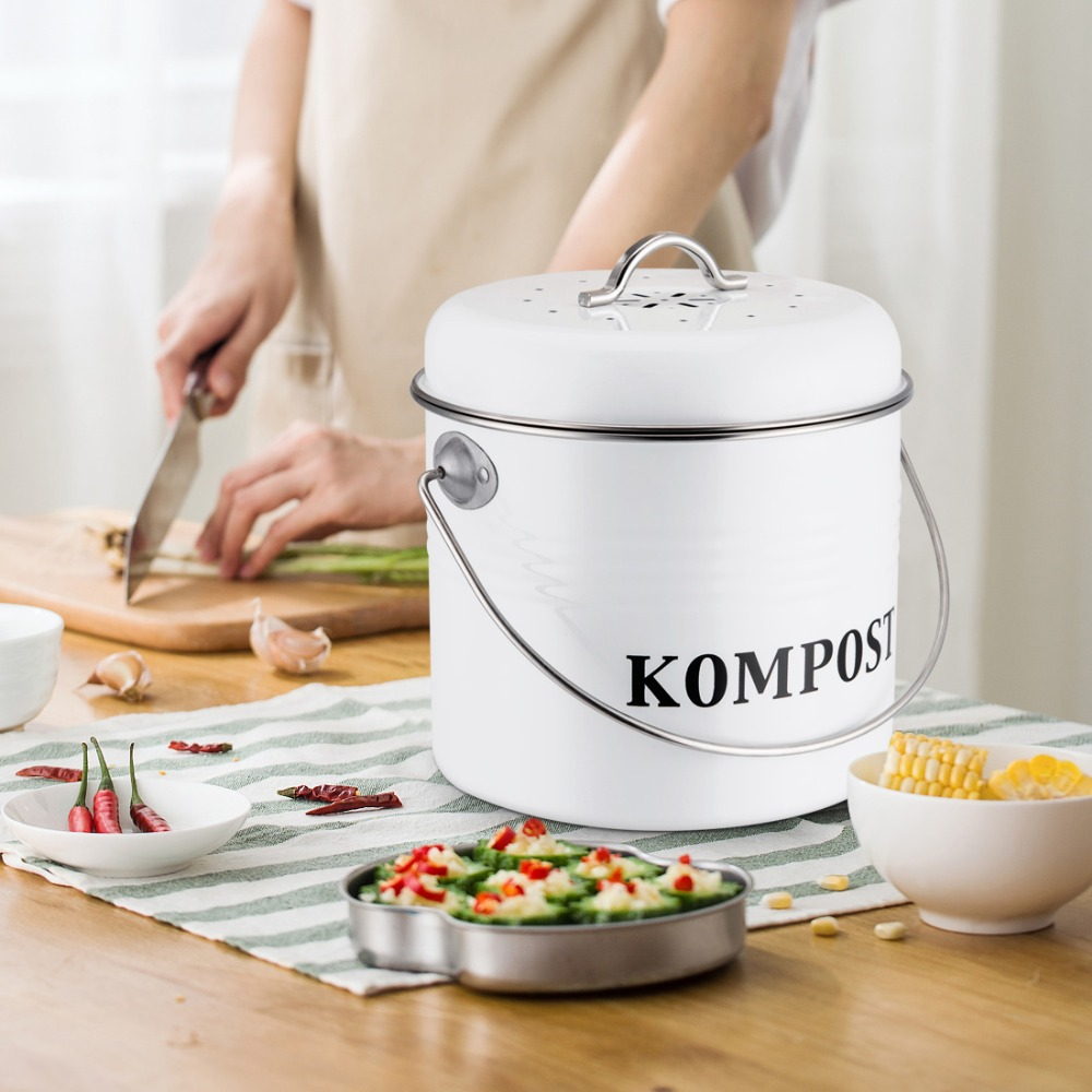 US $19.3 25% OFF|5L Kitchen Compost Bin Organic Homemade Trash Can Melons  Leaves Outdoor Countertop Iron Round Charcoal Filter Bucket-in Kitchen ...