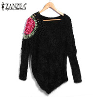 ZANZEA 2017 Women Sexy V Neck Batwing Sleeve Knitted Sweaters Retro Embroidery Knitted Tops Casual Irregular