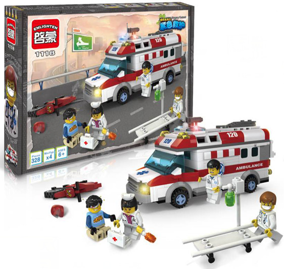 Enlighten 1118 Block Ambulance Series DIY 328pcs Bricks Truck Building Blocks Toys Kid Christmas Gift Playmobil