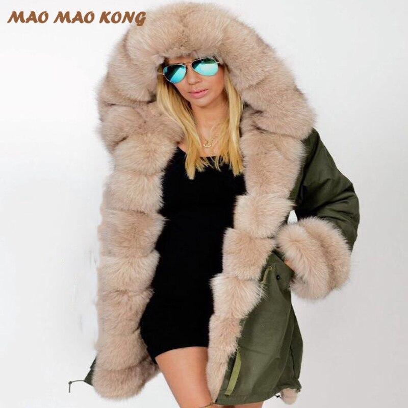 2018 nouvelles femmes d'hiver réel de fourrure parka chaud naturel grand renard col de fourrure avec de luxe rex de fourrure de lapin doublure armée vert camouflage