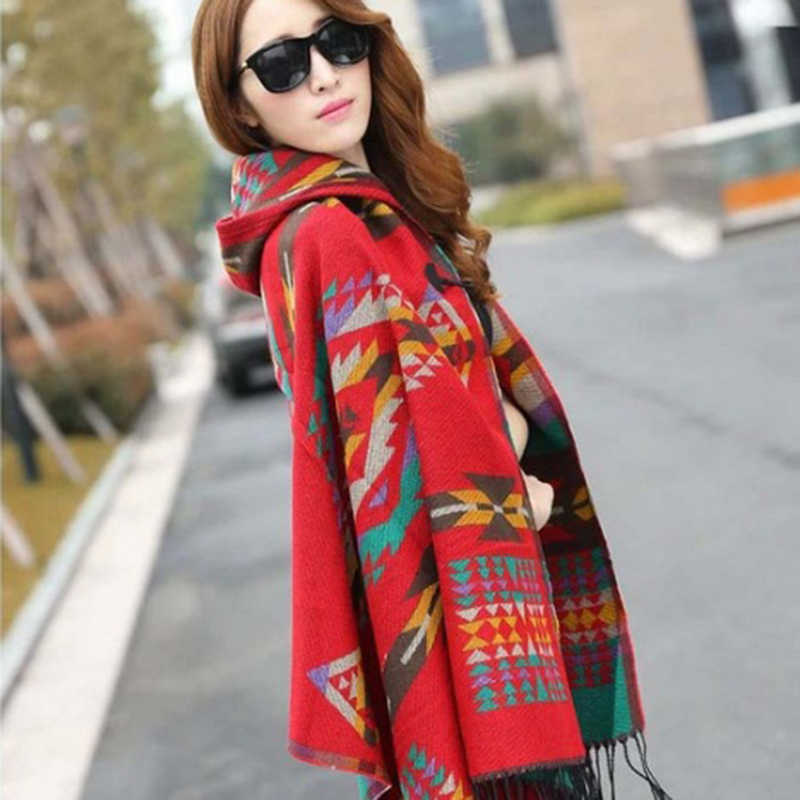c0a222be148 OL BOHO Female Warm Hooded horns Button cloak imitation cashmere shawls  Winter Scarves Ethnic Fashion Large