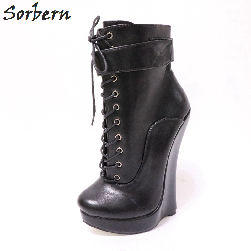 Sorbern Wedge High Heel Ankle Boots For Women Platform Shoes Ladies Round Toe Lace Up Women