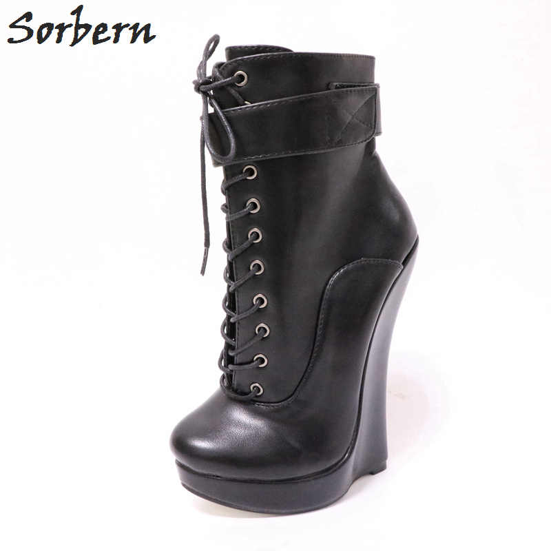 Women Super High Heel Black Leather Ankle Boots Platform Wedge Round Toe Pumps
