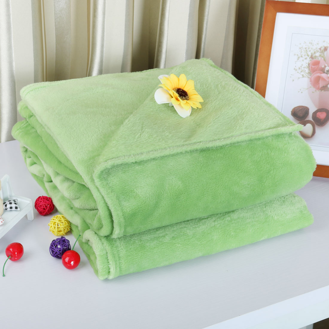 UXCELL Piccocasa 1.5 X 2M Twin Size Home Bedroom Bed Sofa Warm Plush Couch  Throws Blanket Soft Lime Green