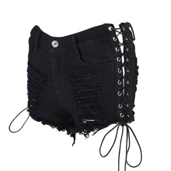 Sexy summer Plus Size women denim black White ripped short jeans high waist tassel elastic lace up bandage club hot short 2