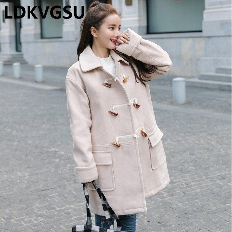 Laine Wool Is426 De Nouvelles Automne Hiver Cornes Coat Longue Mode Beige Solide Survêtement Boucle 2018 Manteau Veste Couleur Étudiant Lâche Femmes npTHYTXwq
