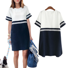 ZANZEA Women Color Block Casual Mini Dresses New Summer Style Dark Blue White Patchwork O Neck Short Sleeve Shift Dress