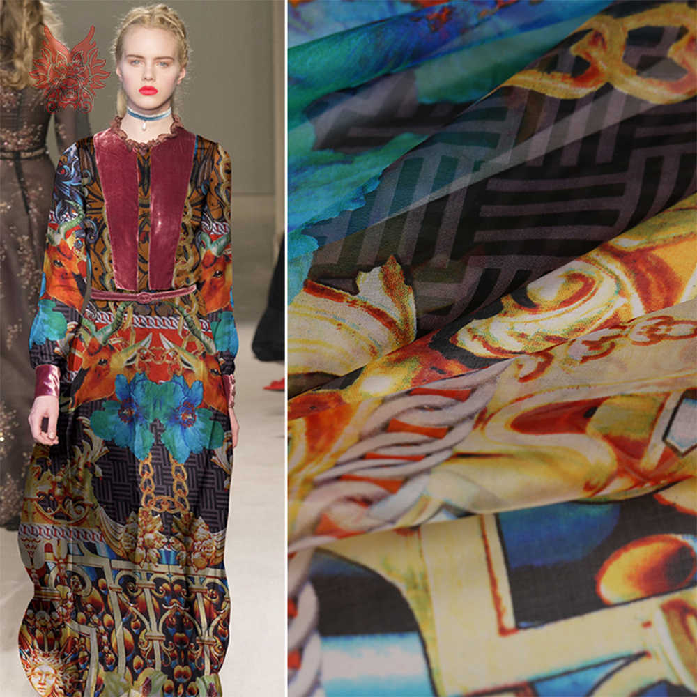 8cb3c3f3afd Винтаж стиль цветочный принт 100% натуральный шелк шифон ткани одежда для платье  чистый шелк tissu