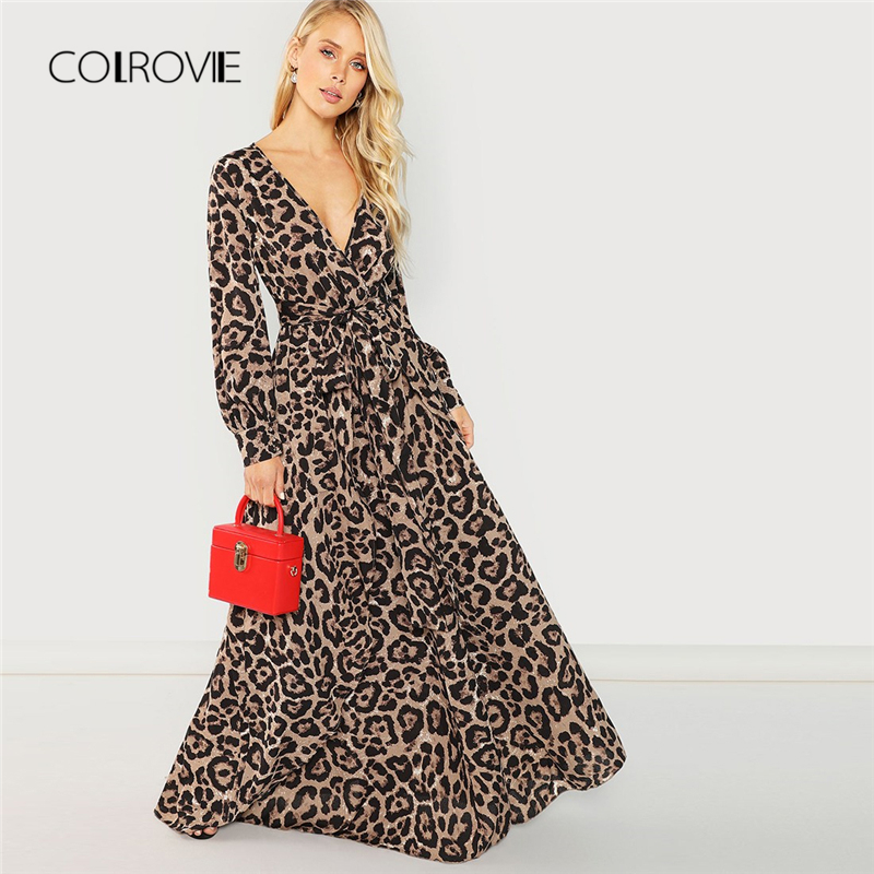 COLROVIE Knot Belted Deep V Neck Leopard Print Sexy Dress Women 2018 Autumn Long Sleeve Party Dress Girl Elegant Maxi Dresses