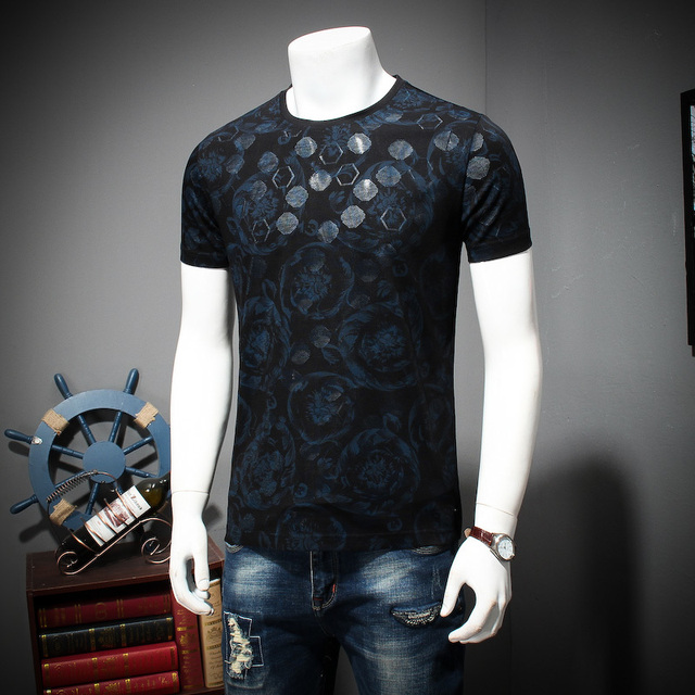 2018 8xl 9xl Summer Mens Casual T Shirts Black Flower Print Brand Clothing For Man's Short Sleeve Loose T-Shirts Male Tops Tee 2