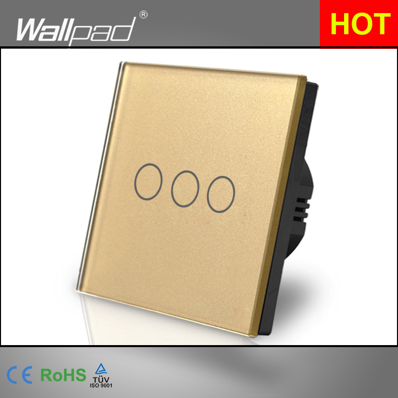 Smart Home Wallpad Luxury Gold Touch Crystal Glass 3 Gang 1 Way EU UK Standard Touch Sensor Lighting Switch Panel Free Shipping