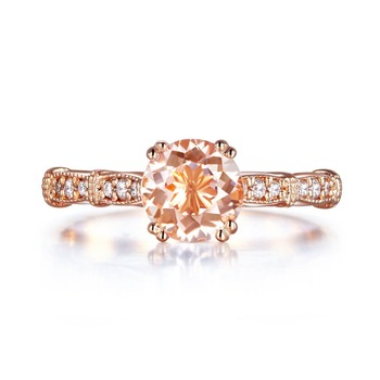 Peacock Star Vintage Style 14K Rose Gold Engagement Ring 1.2 Ct Peach Morganite Natural Diamonds 2