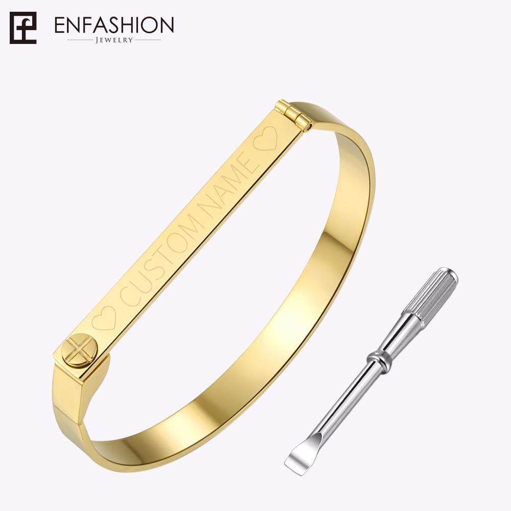 Enfashion אישית צמיד שם הצמיד זהב צבע צבע הברג מחרוזת אוהבי צמידים לנשים גברים חפתים צמידים Bangles