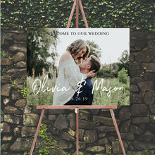 Custom Welcome Sign With Photo Rustic Wedding Welcome Sign Photo Welcome Sign Engagement Party Wedding Shower Sign(China)