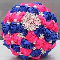 새틴 꽃 로얄 블루 핫 핑크 신부