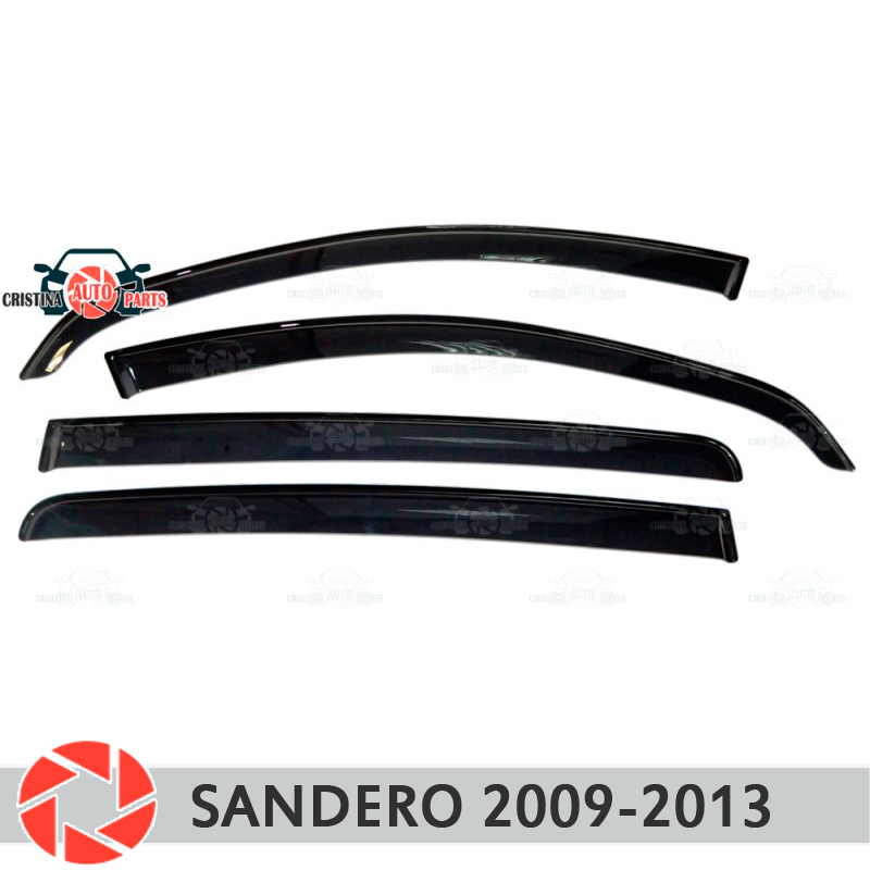 Window deflector for Renault Sandero 2009-2013 rain deflector dirt protection car styling decoration accessories molding fashionable car decoration car neon lights 15cm blue light