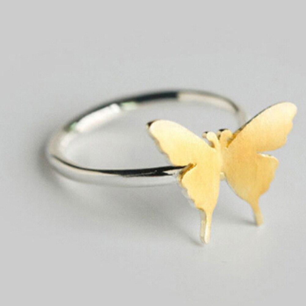 Серебряный Цвет Золотое кольцо бабочка кольцо midi мизинец носком Кольца Anillo для леди Для женщин Рождество ювелирные изделия