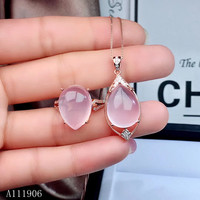 KJJEAXCMY boutique jewelry 925 sterling silver inlaid natural gemstone hibiscus stone pendant necklace ring female suit support