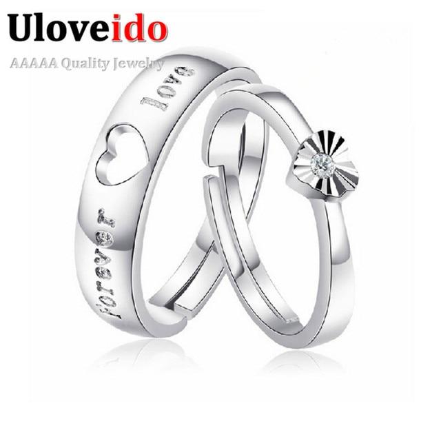 662be6c0fda7 Uloveido siempre amor diseño ajustable anillo anillos de boda par Zirconia  Color plata para mujer para