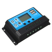LEORY PWM 12V/24V 10/20/30A Solar Controller Dual USB LCD Display Solar Panel Charge Regulator