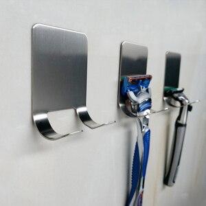 Image 3 - 1Pcs Wand montiert Edelstahl Razor Halter Wand Klebstoff Rasierer Lagerung Racks Küche Tür Bad Klebrigen Haken Für stecker