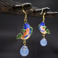 2017 Exotic Beautiful Blue Fishes Earrings Chinese Cloisonne Carps Hanging Light Blue Chalcedony Beads Ethnic Jewelry
