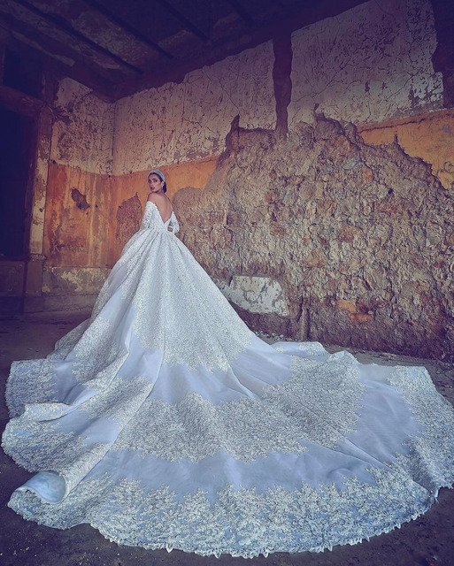 a054596332 Special Price Eslieb Vintage lace crystal wedding dresses Empire Royal  Train wedding Dress 2019