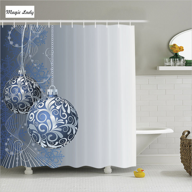 Shower Curtain Blue Bathroom Accessories Christmas Tree