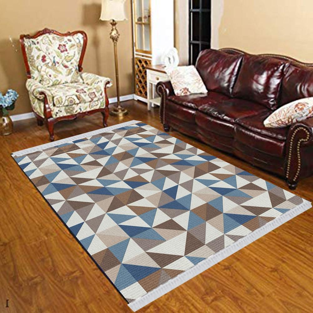 Else Blue Brown Gray Triangles Modern Geometric 3d Print Anti Slip Kilim Washable Decorative Kilim Tassel Rug Bohemian Carpet
