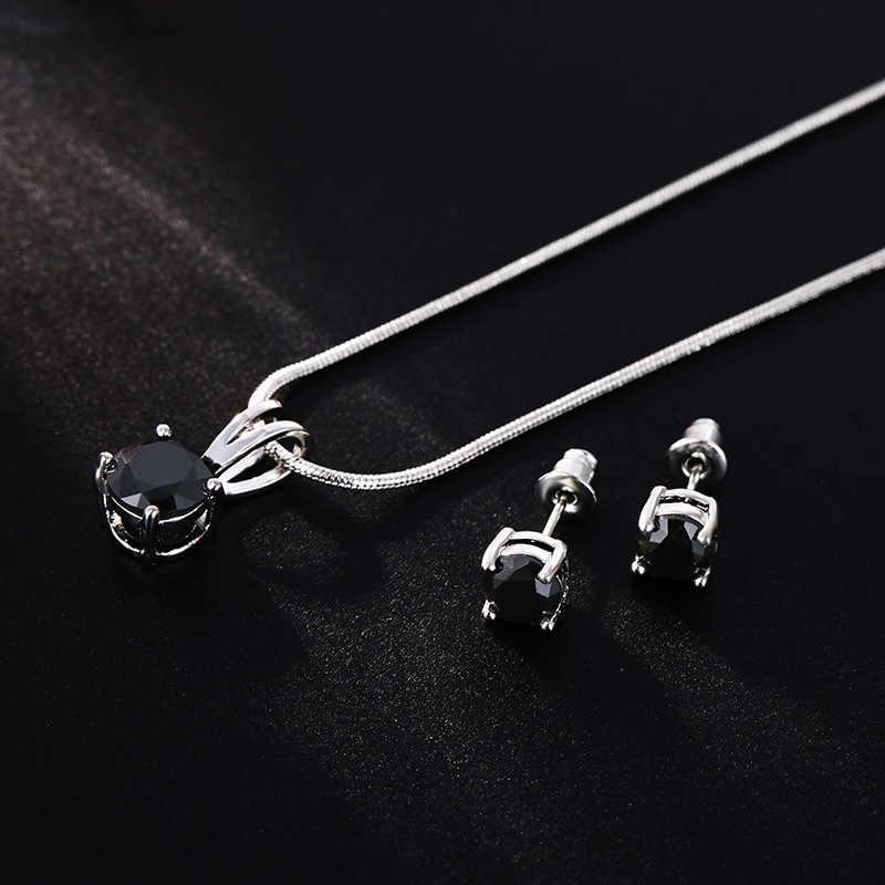 CARSINEL CZ ожерелье серьги Ювелирные наборы Оптовая Продажа серебряный цвет змеиная цепь ожерелье серьги-гвоздики Свадебные обручение