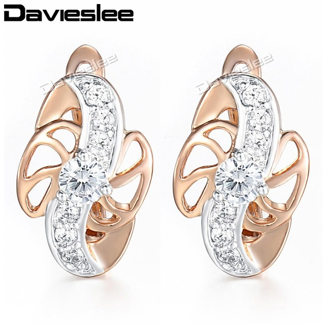 Us 4 99 Davieslee Stud Earrings For Women Flower Clear Cz 585 Rose Gold Filled Paved Cubic Zirconia Womens Earring Lge102 In