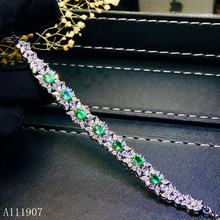 Женский браслет из серебра 925 пробы с натуральным изумрудом