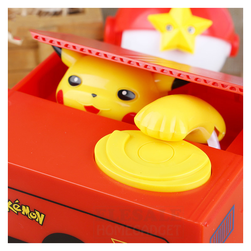 High Quality Electronic Money Box Pokemon Pikachu Piggy Bank Steal Coin Automatically For Kids Gift