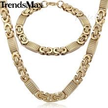 Trendsmax طقم مجوهرات 8 مللي متر رجالي سلسلة بنين سوار الذهب لهجة شقة البيزنطية ربط قلادة من الفولاذ المقاوم للصدأ سوار مجموعة KS164