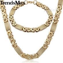 Trendsmax SIERADEN SET 8mm Mens Chain Jongens Armband Gold Tone Flat Byzantijnse Link Rvs Ketting Armband Set KS164