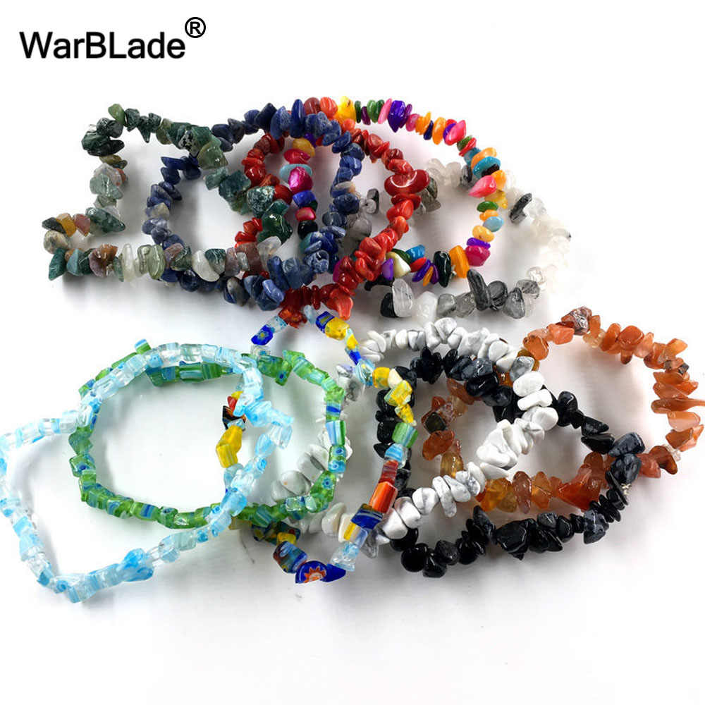 Warblade熱い販売ナチュラル宝石石のブレスレットストレッチチップビーズナゲットガーネットクリスタルコーラルクォーツのブレスレットの腕輪