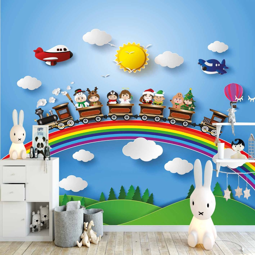 Else Blue Sky White Clouds Rainbow Train Planes 3d Print Cartoon Cleanable Fabric Mural Kids Children Room Background Wallpaper
