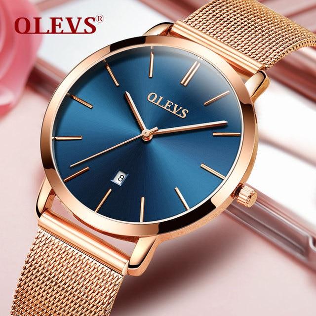 Olevs часовой бренд Для женщин Кварц Мода Повседневное розовое золото женские часы Полный Сталь женский часы Водонепроницаемый Дата Наручные часы Reloje