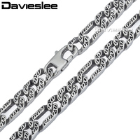 10mm Heavy Figaro Animal Skin Mens Boys Chain Necklace Silver Tone 316L Stainless Steel Necklace Personnalize
