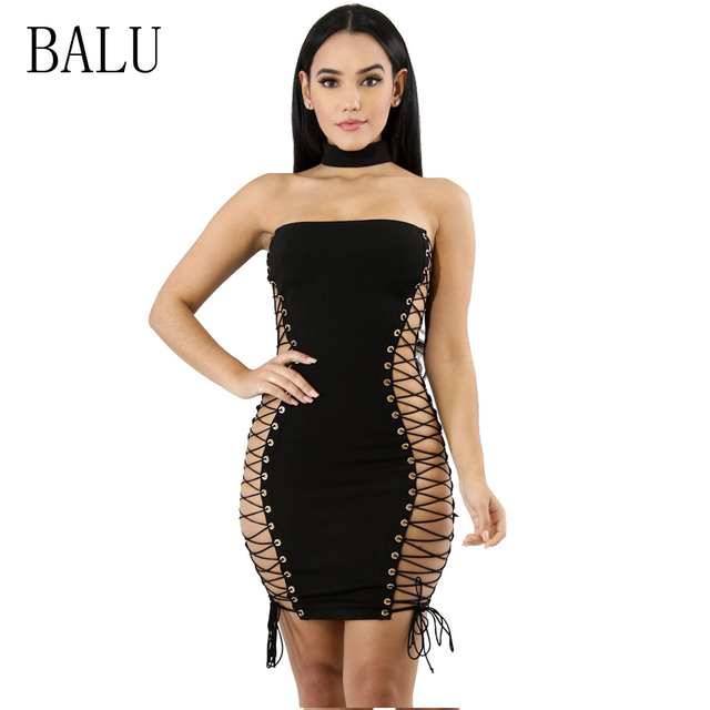 f87359c0e9 BALU Black Strapless Sexy Bandage Dress Women Halter Sleeveless Hollow Out  Lace Up Dress Summer Bodycon Mini Club Party Dresses